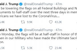 特朗普发推宣布降半旗志哀美国新冠疫情逝者